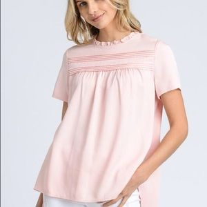 BNWT Ruffle Neck Top in Blush